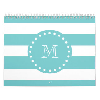 Teal White Stripes Pattern, Your Monogram Wall Calendar