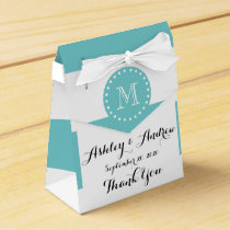 Teal White Stripes Pattern, Your Monogram Favor Box