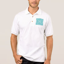 Teal White Stripes Pattern, Your Monogram Polo Shirt