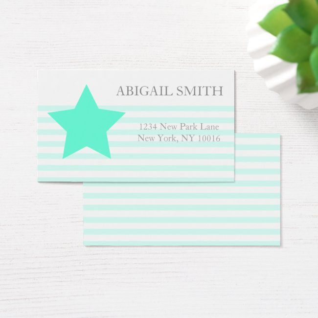 Teal & white stripes Personalized Business Cards
