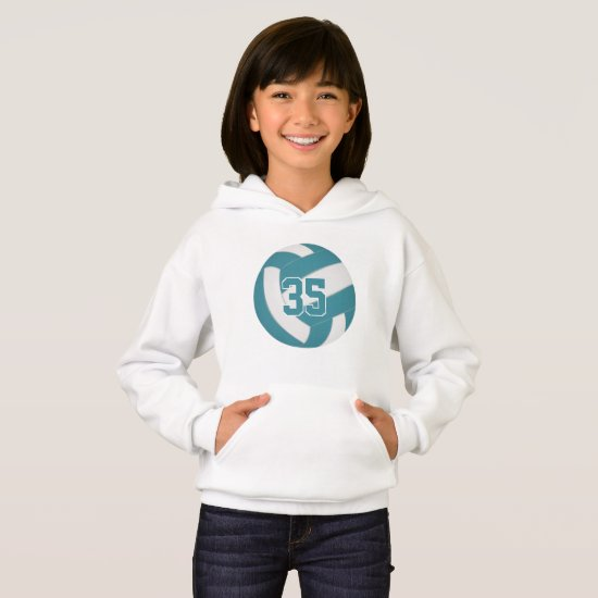 teal white team colors jersey number volleyball hoodie