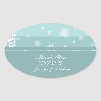 Teal White Thank You Winter Wedding Stickers