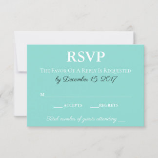 Teal & White Traditional Wedding Suite RSVP Card