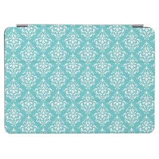 TEAL WHITE VINTAGE DAMASK PATTERN 1 iPad AIR COVER