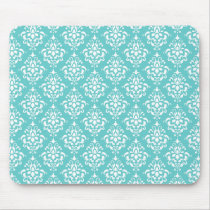 TEAL WHITE VINTAGE DAMASK PATTERN 1 MOUSE PAD