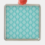 TEAL WHITE VINTAGE DAMASK PATTERN 1 CHRISTMAS ORNAMENTS