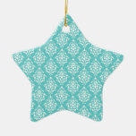 TEAL WHITE VINTAGE DAMASK PATTERN 1 CHRISTMAS ORNAMENT