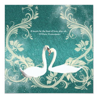Teal white vintage engagement wedding 5.25x5.25 square paper invitation card