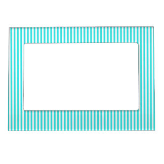 Teal White Vintage Girly Stripes Pattern Magnetic Frame