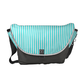 Teal White Vintage Girly Stripes Pattern Messenger Bags