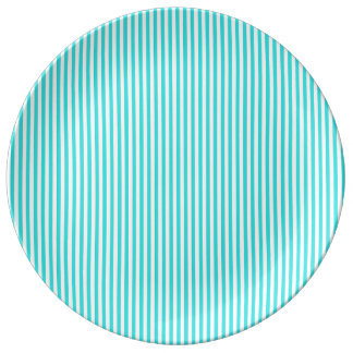 Teal White Vintage Girly Stripes Pattern Porcelain Plate
