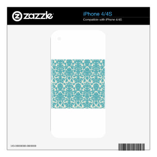 Teal & White Vintage Wallpaper Illustration Design Skins For iPhone 4