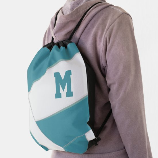 teal white volleyball team colors girls boys drawstring bag