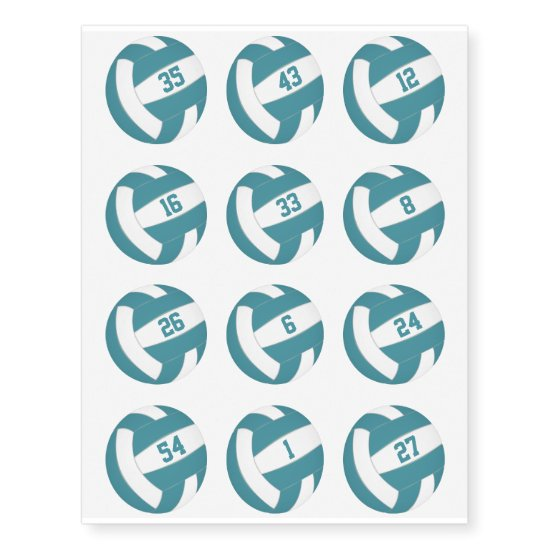 teal white volleyballs w jersey numbers set of 12 temporary tattoos
