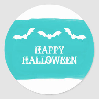 Teal White Watercolor Bats Halloween Stickers