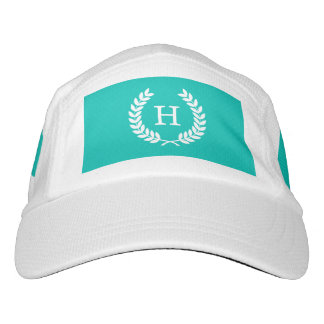 Teal White Wheat Laurel Wreath Initial Monogram Headsweats Hat