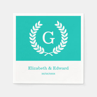 Teal White Wheat Laurel Wreath Initial Monogram Disposable Napkins
