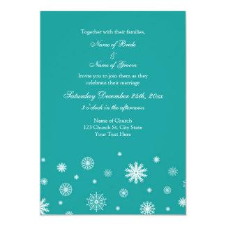 Teal White Winter Wedding Photo Invitation Cards