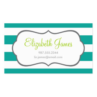 Teal Wide Stripe Business Card