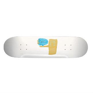 Teal wind power skateboard deck