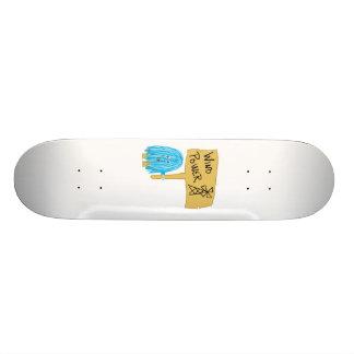 Teal wind power custom skateboard