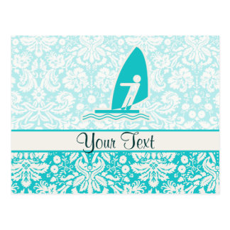 Teal Windsurfing Postcard