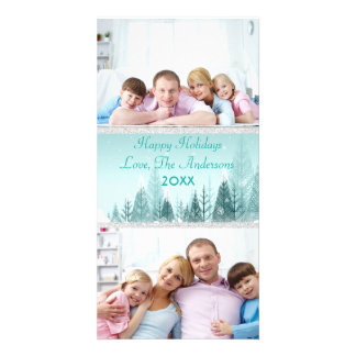Teal Winter Landscape Scene 2 Photos - Photo Card