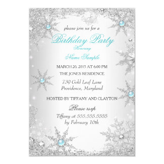 Teal Winter Wonderland Birthday Party 5x7 Paper Invitation Card
