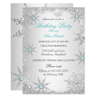 Teal Winter Wonderland Birthday Party Card