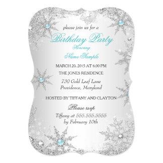 Teal Winter Wonderland Birthday Party Card