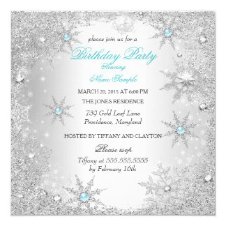 Teal Winter Wonderland Birthday Party Invitation