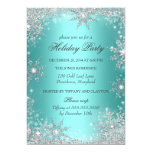 """Teal Winter Wonderland Christmas Holiday Party 2 5"""" X 7"""" Invitation Card"""