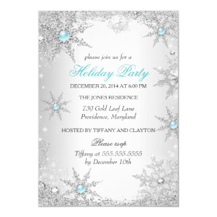 Teal Winter Wonderland Christmas Holiday Party 4a Card at Zazzle