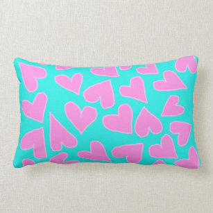 TEAL WITH BARBIE PINK HEARTS THROW PILLOW