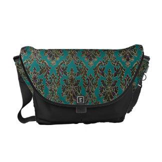 Teal With Black Iridescent Damask Messenger Bag