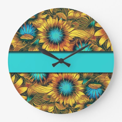 Teal Sunflowers Large Clock