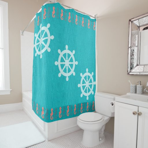 teal with nautical coral seahorses shower curtain zazzle