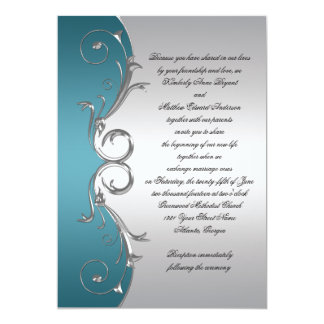 Teal with Ornate Silver Swirls Wedding Celebration Card