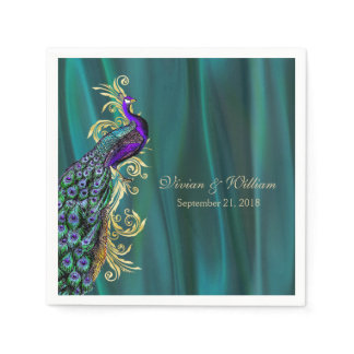 Teal with Peacock Wedding Paper Napkin