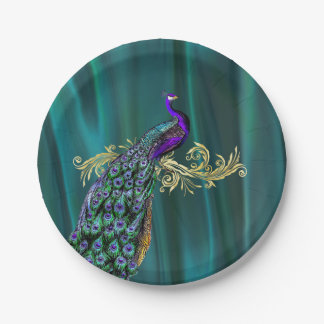Teal with Peacock Wedding Paper Plate