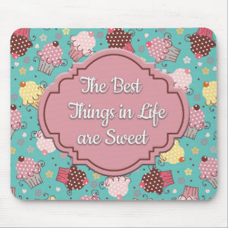 Teal with Pink and Yellow Cupcakes Mousepad