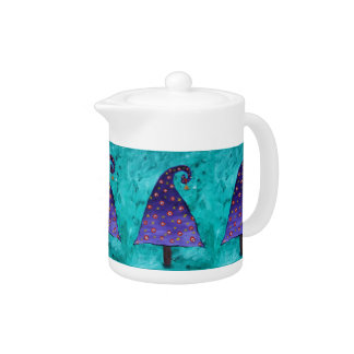 Teal With Purple Christmas Tree Pattern Teapot