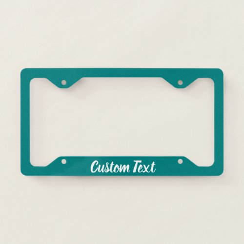 Teal with White Script License Plate Frame