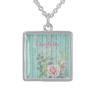 Teal Wood Effect Pink Roses Floral Bouquet Name Square Pendant Necklace