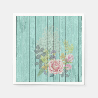 Teal Wood Effect Pink Roses Floral Bouquet Napkin