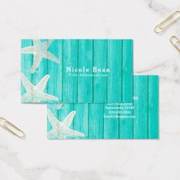 Beach Themed Teal Wood & Starfish Beach Elegant Chic Tropical Business Card
