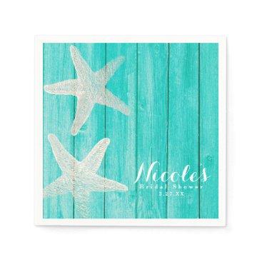 Beach Themed Teal Wood & Starfish Beach Elegant Tropical Chic Napkin
