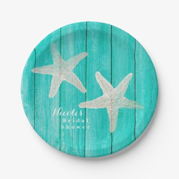 Beach Themed Teal Wood & Starfish Beach Elegant Tropical Chic Paper Plate