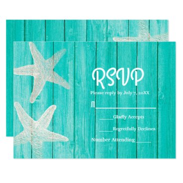 Beach Themed Teal Wood & Starfish Elegant Beach RSVP Card