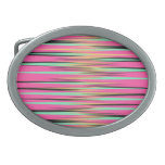 Teal, Yellow, Black, and Pink Stripes Oval Belt Buckle